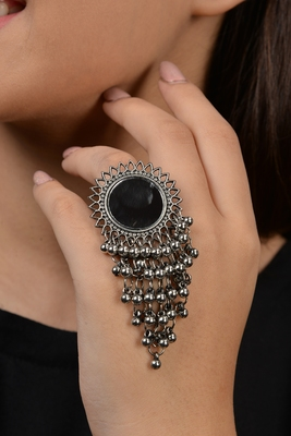 German Silver Mirror And Ghungroo Ring
