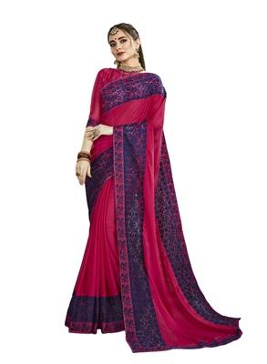Dark pink embroidered silk blend saree with blouse