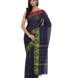 Dark Blue Chettinad Cotton Saree With Blouse Piece