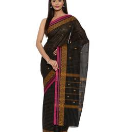 CLASSICATE from the house of The Chennai Silks Women's Black Chettinad Cotton Saree With Blouse Piece