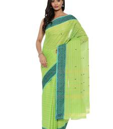 CLASSICATE from the house of The Chennai Silks Women's Green Chettinad Cotton Saree With Blouse Piece