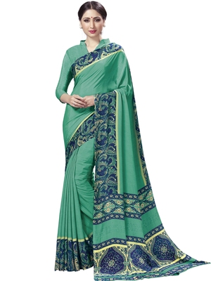 Turquoise Printed Crepe Sarees With Blouse