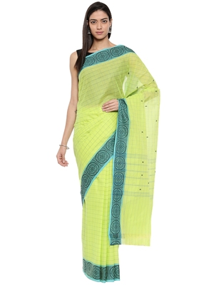 CLASSICATE from the house of The Chennai Silks Women's Light Green Chettinad Cotton Saree With Blouse Piece