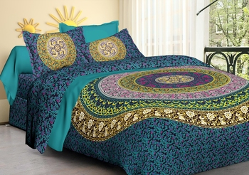 100% Cotton Rajasthani Jaipuri Sanganeri Traditional  Double Bed Sheet with 2 Pillow Covers
