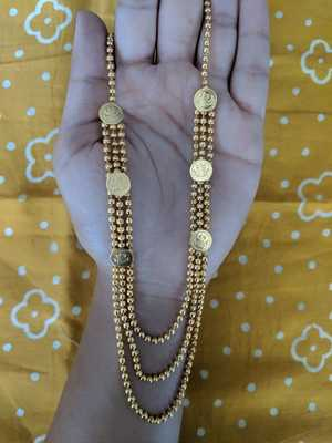Necklace Mangalsutra  Lakshmi Coin Golden Beads 3 multi-layered Line Chain s