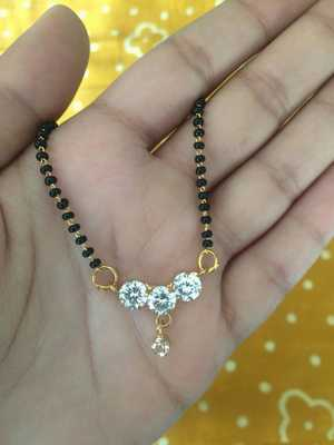 American Diamond Mangalsutra Length  Golden 3 Round Stone Pendant Lankan Black Bead Single Chain