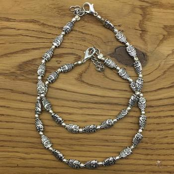 Alloy Metal Fancy Oxidised German Silver Plated Owl Anklet Payal/Pazeb Comes Pair