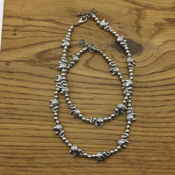 Alloy Metal Fancy Oxidised German Silver Plated Elephant Anklet Payal/Pazeb Comes Pair