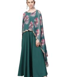 Sea-green printed crepe kurti