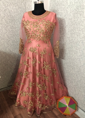 Pink embroidered net Anarkali salwar suit