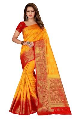Yellow woven nylon saree with blouse