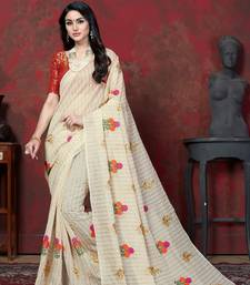 Off white embroidered chanderi saree with blouse