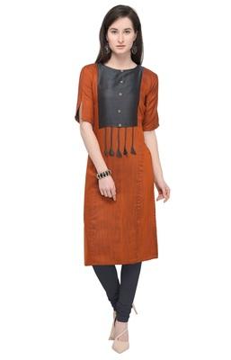 Dark-orange plain rayon kurti