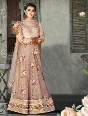 Peach embroidered  organza semi stitched lehenga with dupatta