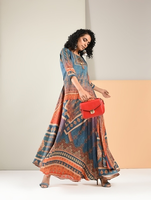 Multicolor printed silk kurti