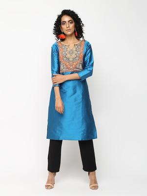 Blue printed silk kurti