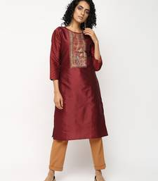 Maroon printed silk kurti