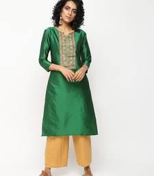 Green printed silk kurti