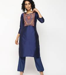 Navy-blue printed silk kurti