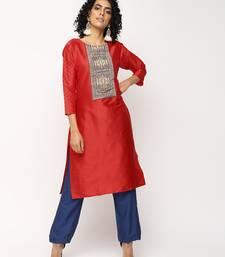 Red printed silk kurti