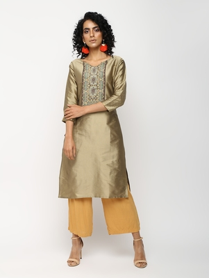 Golden printed silk kurti