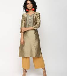 Golden printed silk kurti