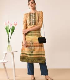 Yellow printed silk kurti