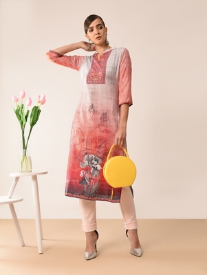 Multicolor printed viscose rayon kurti