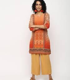 Orange printed crepe kurti