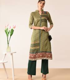 Dark-green printed silk kurti