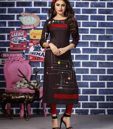 Brown embroidered rayon kurti