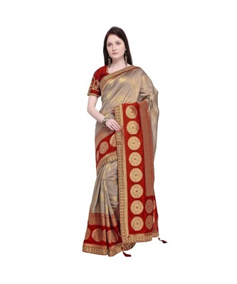 multicolor embroidered jacquard saree with blouse