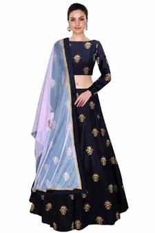 225dd650292dd Progress 4cc28d84d76fcb9210fe43f7ac15eb975cd0845b972ae4a79b1d0ad72de0bd8e.  Blue embroidered silk semi stitched lehenga. Shop Now