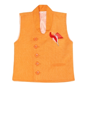 Yellow plain jute boys nehru jacket