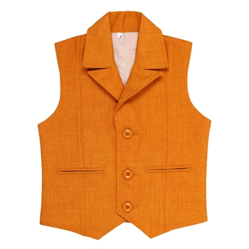 Orange plain jute boys nehru jacket