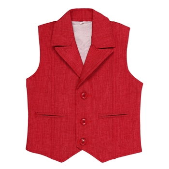 Red plain jute boys nehru jacket