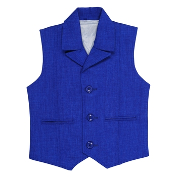 Blue plain jute boys nehru jacket