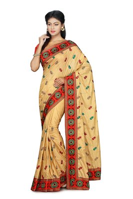 Gold Embroidered Art Silk Saree With Blouse