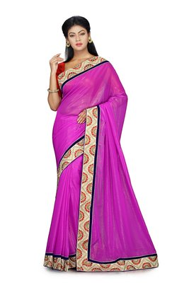 Purple Embroidered Shimmer Saree With Blouse