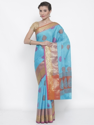 CLASSICATE fom the house of The Chennai Silks Women's Sky Blue Organza Saree With Blouse Piece