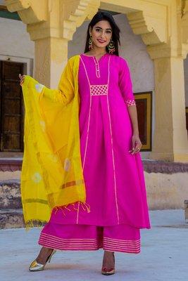 Ruby Pink Designer Long Kurti Set With Yellow Dupatta