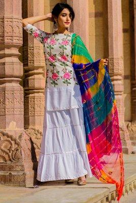 Rose Pink Kurta Set With Multi-Coloured Lehariya Dupatta