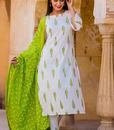 White Leaf Kurta Set
