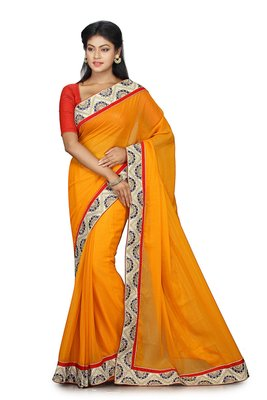 Orange Embroidered Shimmer Saree With Blouse