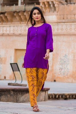Liliac Purple Short Kurta & Pant