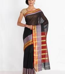 CLASSICATE fom the house of The Chennai Silks Women's Black Chettinad Cotton Silk Saree With Blouse Piece