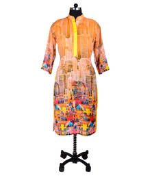 Buy Orange Digital Print Kurti kurtas-and-kurti online