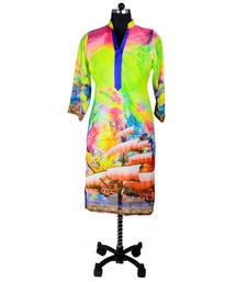 Buy Blue and Green Digital Print Kurti evening-wear-dress online