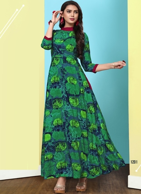 Heavy Rayon Printed Long Designer Kurti