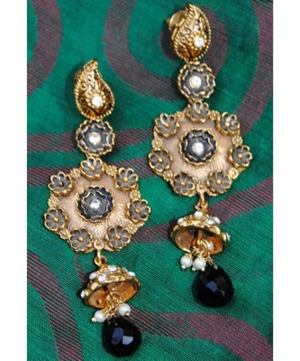 Black and Gold Enamel Pearl Diamond Dangler Earrings